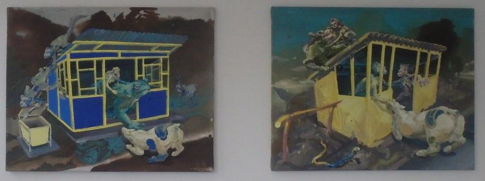 Michael Rittstein, Čekárna na minulost (modrá), 2013, plátno, akryl, 100 x 80 cm    Michael Rittstein, Čekárna na minulost (žlutá), 2013, plátno, akryl, 100 x 80 cm