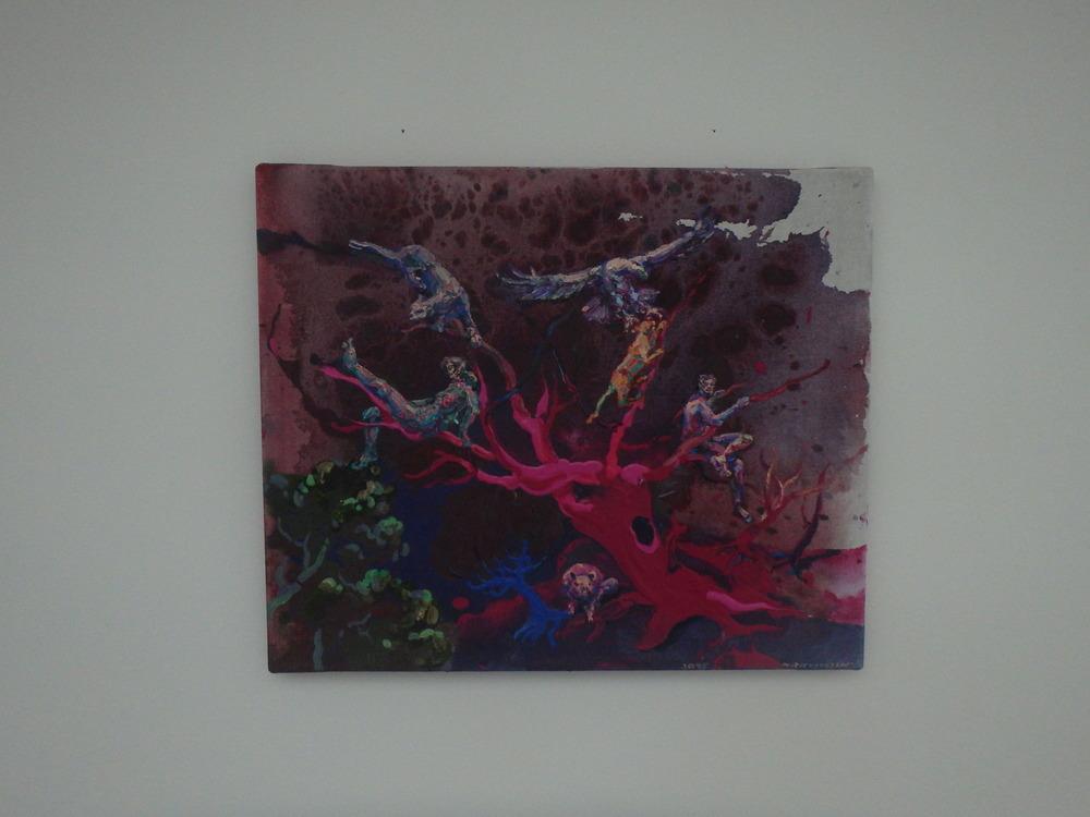 Michael Rittstein, Posezení v koruně, 2015, plátno, akryl, 60 x 50 cm