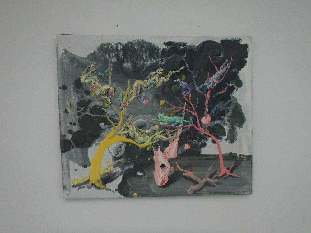Michael Rittstein, Užijte si výšek, 2015, plátno, akryl, 60 x 50 cm
