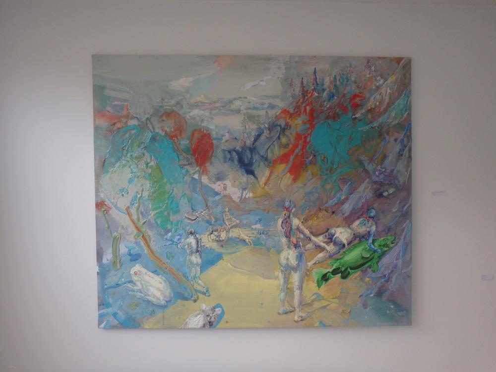 Michael Rittstein, Chodíce po lese..., 2014, plátno, akryl, 180 x 210 cm