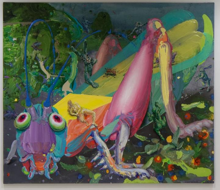 Michael Rittstein, Poměrně velká luční kobylka, 2015–16, plátno, akryl, 180 x 210 cm