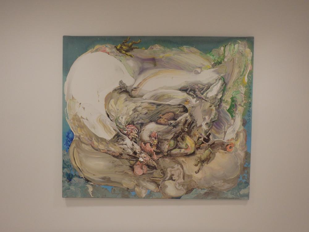 Michael Rittstein, Troje slepice, 2010, plátno, akryl, 140 x 120 cm