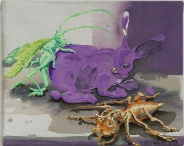 Michael Rittstein, Przněný králíček (Někteří jedinci jsou trochu zvláštní), 2014, plátno, akryl, 50 x 40 cm