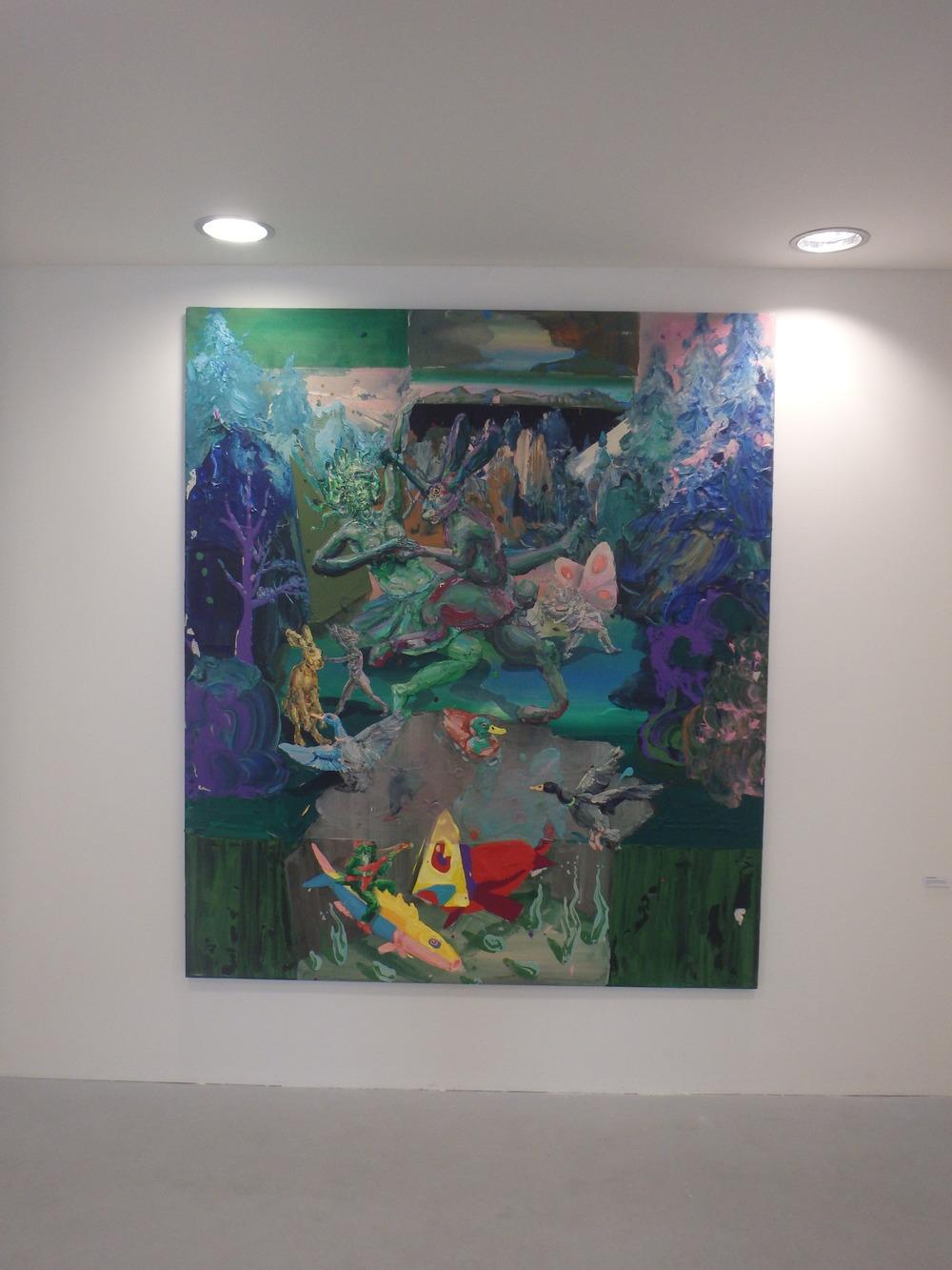 Michael Rittstein, Zajíc balí vodníkovi ženu (Kurzy začínají s podzimem), 2015, plátno, akryl, 190 x 220 cm