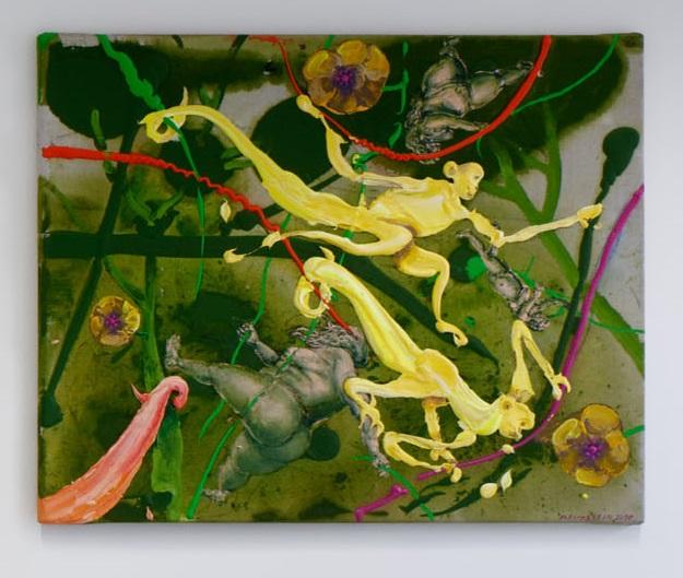 Michael Rittstein, Opičky, 2016, plátno, akryl, 80 x 100 cm