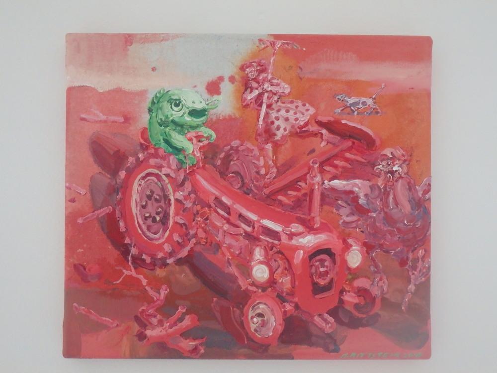 Michael Rittstein, Zmatek na dvorku (Červený traktor), 2015, plátno, akryl, 46 x 40 cm