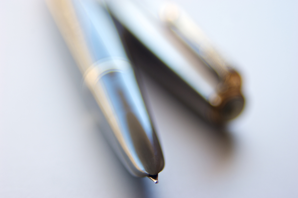 This image of the iconic Parker 51 fountain pen in dove grey was shot with the Nikon D2Xs paired with a 28-105 AF Nikkor macro zoom lens. Post-processing and image enhancement were done on Apple Aperture and Adobe Photoshop on a Macbook Pro. Copyright © 2015. All rights reserved. To see more pictures, please visit my photography website at   www.dominiquejames.com  . Thanks!