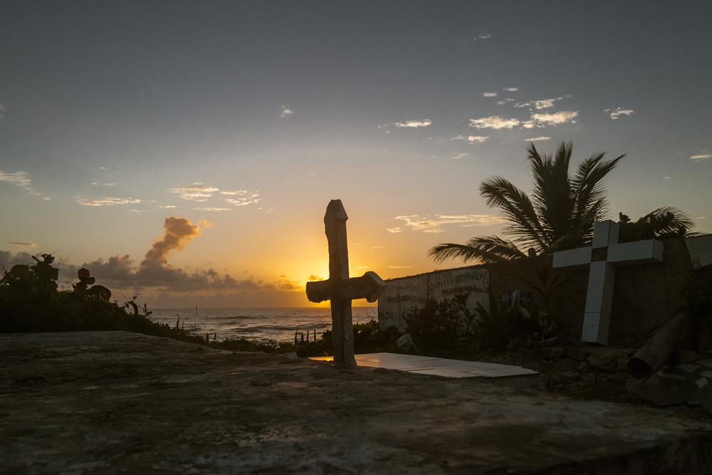 Sunrise Behind Cemetery Cross