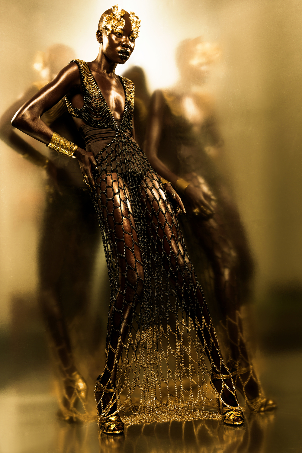 """Golden Goddess Reflection"" Fashion Editorial by Lindsay Adler Photography, NYC Fashion Photographer"
