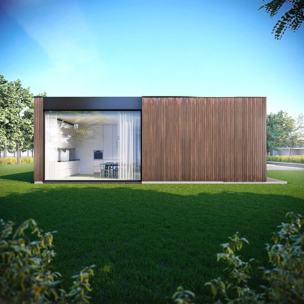 CONSTRA HOUSE. DETACHED HOUSE PROJECT IN VILNIUS. ARCHITECTURE & DESIGN CONCEPT 2017 The minimal shaped house represents the Scandinavian style with Less is More. One storeyed semi-detached house keeps central composition with a shelter for vehicles in the center, continuing with entrances from the middle of the volume.Housing has got one showcase wall, orientated to the South.