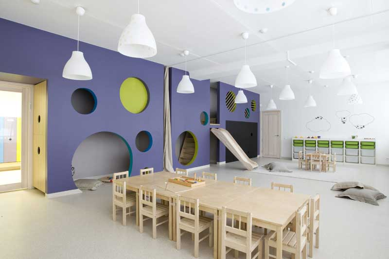 KINDERGARDEN TAŠKIUS PUBLIC INTERIOR PROJECT 2011 Taskius is an interior design created for kindergarten. An existing centered-corridored inner space is being injected with colorful dots conception. Main space is devided by three blocks of space. Each has three spaces: main zone, sleeping room and restroom.  Every block has its own color schemes, adapted for playing box, cut voids as circles.