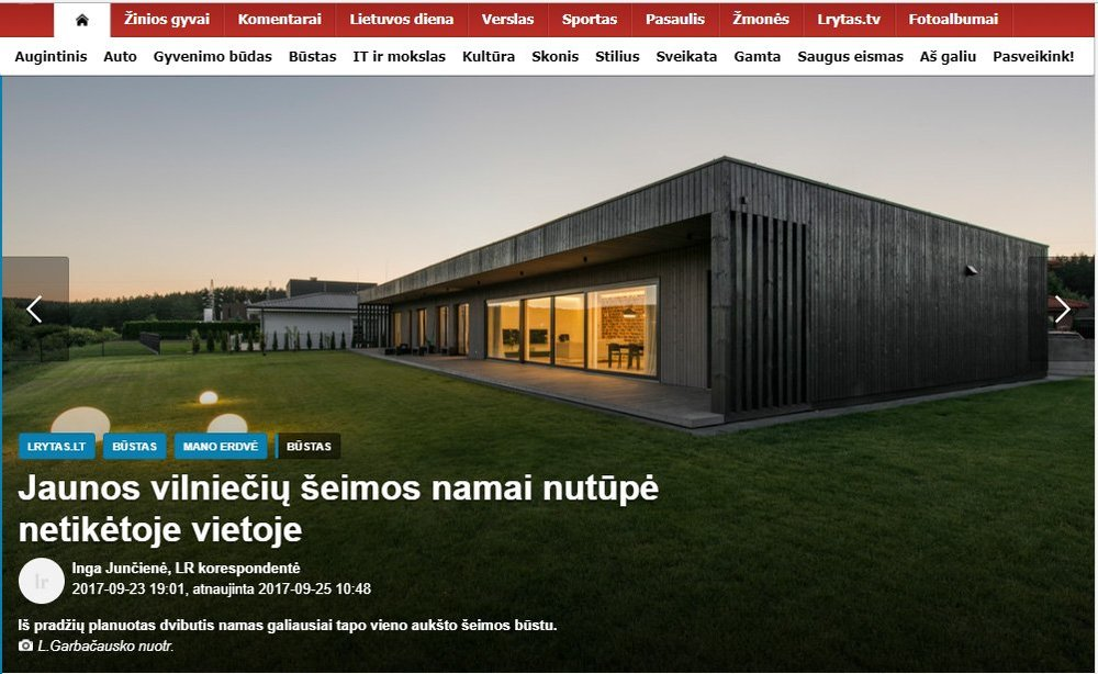 BLACK BOX LIETUVOS RYTE - Lrytas.lt ir būstas apie gyvenamojo namo BLACK BOX Vilniuje architektūrą ir dizainą.Straipsnį galite rasti čiaBLACK BOX project architecture and interios was featured in largest Lithuanian news portal Lietuvos rytas. You can read about us here.
