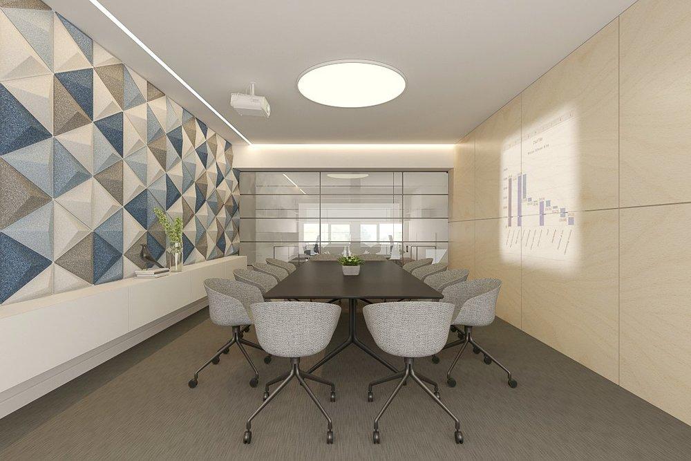 BOD LABORATORIJOS BIURAS. VISUOMENINIS INTERJERO PROJEKTAS. BIURAS 2017  BOD yra biuro-laboratorijos interjeras. Esama situacija yra dviejų aukštų erdvė, kurioje įrengiama poilsio zona - laukiamasis, posėdžių kambarys, virtuvėsu valgomuoju bei darbo erdvės. Bendras biuro naudingasis plotas - 223.81 kv.m. Įėjus į biurą patenkama į bendrą erdvę per du aukštus. Šalia laiptų numatoma poilsio erdvė, su biuro akcentu - panelėmis dekoruota siena. Iš skirtingos spalvos trikampių montuojamos reljefinės sienutės, kurios ne tik yra akcentas, tačiau ir švelniai įsipina į šviesų skandinavišką interjerą, jungiamą su griežta biurams būdinga tipologija.Pirmajame aukšte įrengiama virtuvėlė, atskirta stikline pertvara nuo darbo zonos. Darbo vietos išdėstytos šalia lango, siekiant išnaudoti natūralų apšvietimą. Antrajame aukšte darbo vietos taip pat įrengiamos prie lango.