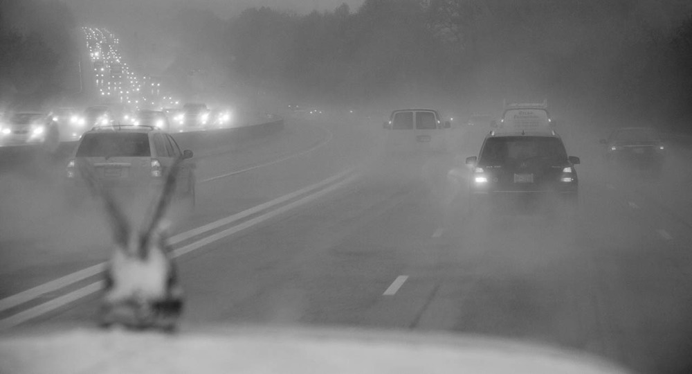 """Big Rig,"" taken from the cab of a freight truck during a rainstorm, was in ""Water"" at the Southeast Center for Photography in Greenville, SC.  A new gallery, the Center has engaged leading photographers as jurors and staged a series of strong shows since opening."