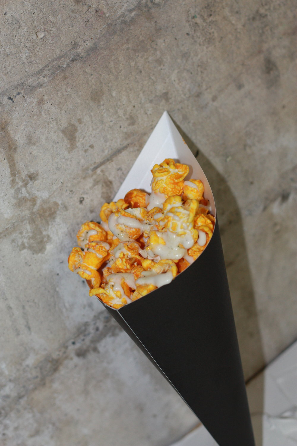 Cheddar cheese popcorn, Ranch dressing, Cilantro lime