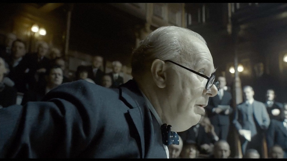 "Gary Oldman's performance is admirable, and the history behind the story is very interesting.  However, the film looks and feels like made-for-TV movie.  The scene where Winston Churchill rides ""the Tube"" nearly forced my eyes to roll permanently into the back of my head."