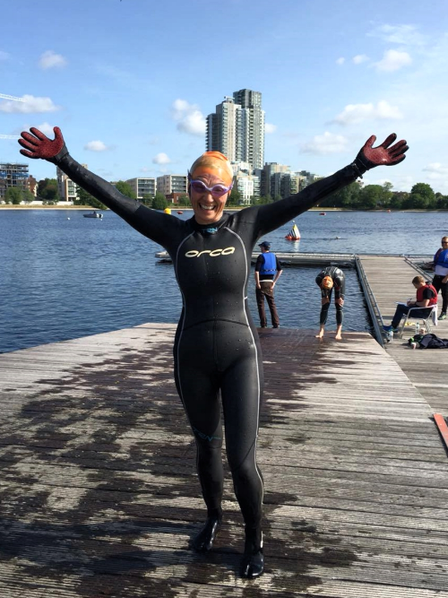 Cate at recent  Capital Tri  event in Hackney's West reservoir.