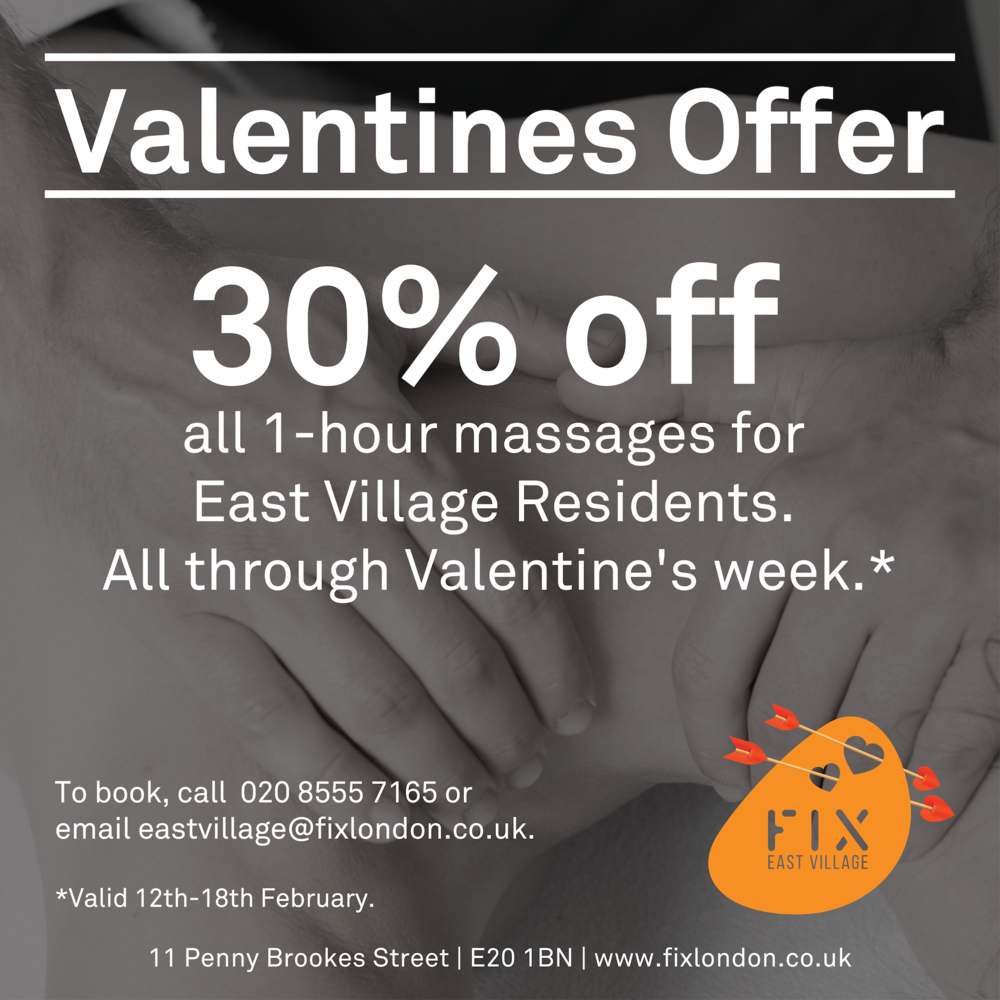 Valentine's day massage offer E20 London