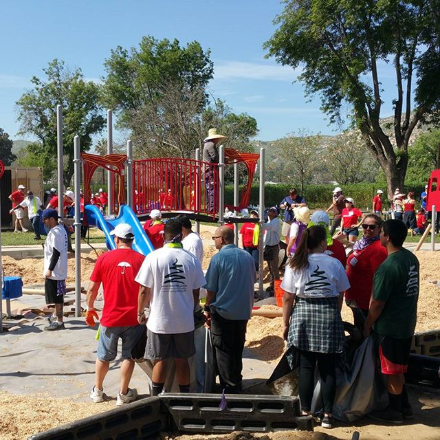 It's coming along great.  Jurupa Area Recreation and Park District, KaBOOM!, Travelers Insurance #playmatters #alloneteam #jvaaf #jarpd4fun