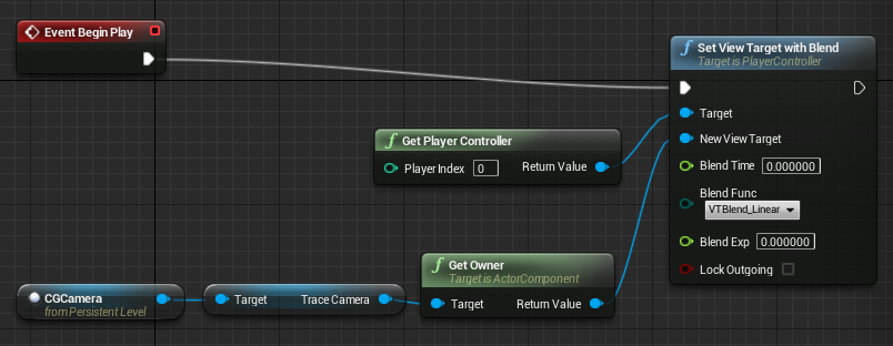 Setting the default camera to the Camera component in my CGCamera Blueprint.