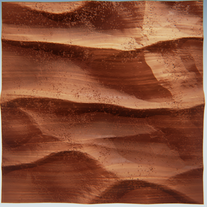 Based on the rock walls of Slot Canyon. I loved the way that the surface of this rock looks and feels so smooth, yet still has so many small imperfections. I enjoyed seeing the sharp, hard-edged contours in the rock that seemed to echo the wave forms and wind that may have shaped the rock.
