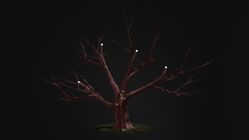 Procedural spline tree Blueprint system (UE4)