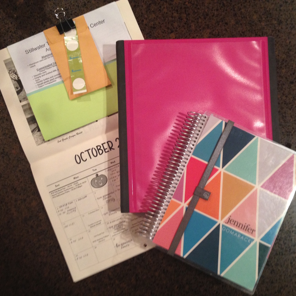 THE SCHOOL CALENDAR, PINK BINDER, AND MY ERIN CONDREN PLANNER