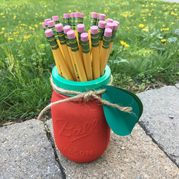 APPLE MASON JAR, FILLED WITH PENCILS