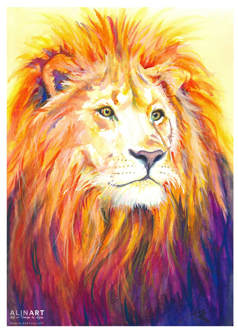 Cecil the Lion , 2015, Watercolor on paper