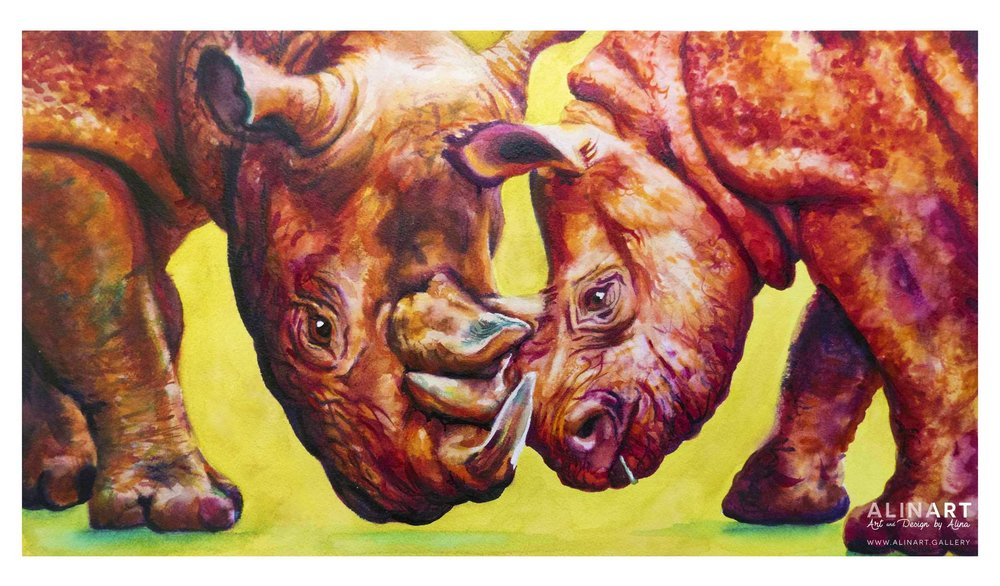 Romping Rhinos , 2015, Watercolor on paper