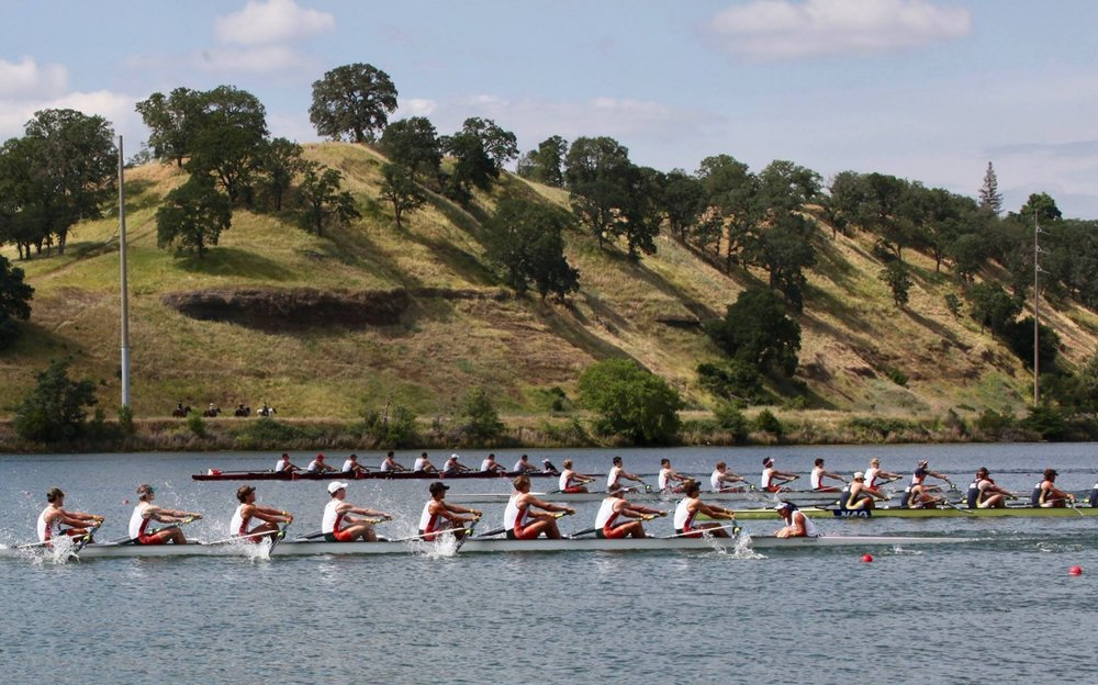 Men's Third Varsity final with Gold Medalist 3V in foreground and Bronze Medalist 4V in background