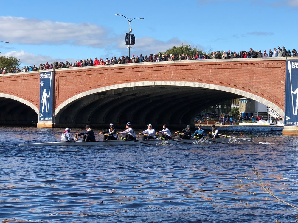 Rowing to the start line under one of the seven bridges on the course (photo credit: Amber Gates)