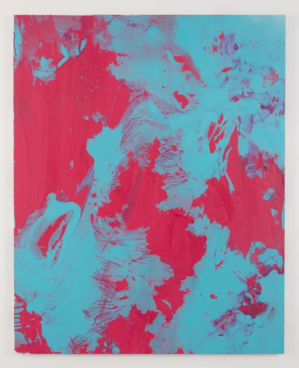"Bad Party,  2014 enamel and acrylic on canvas 48"" x 60"""