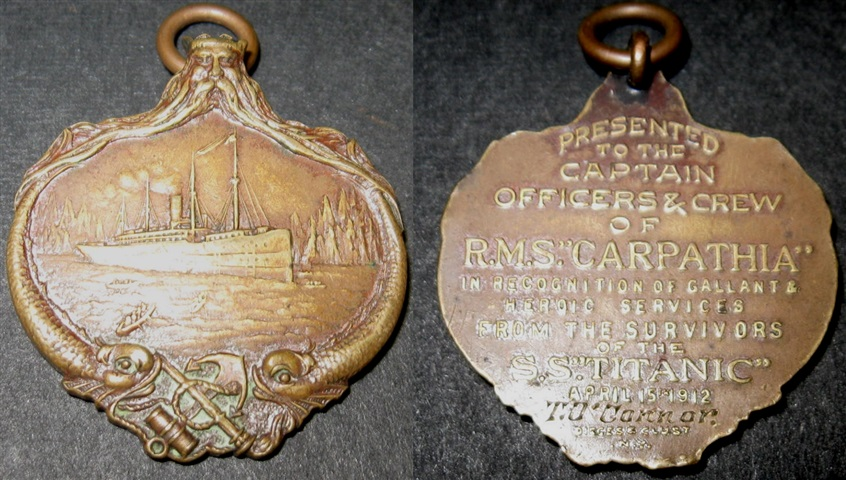 The medal awarded to Tommy O'Connor in recognition of his efforts in helping to rescue people from the sinking Titanic.