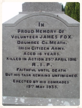 The headstone, in Knockmark Cemetery, which marks the final resting place of James Fox.