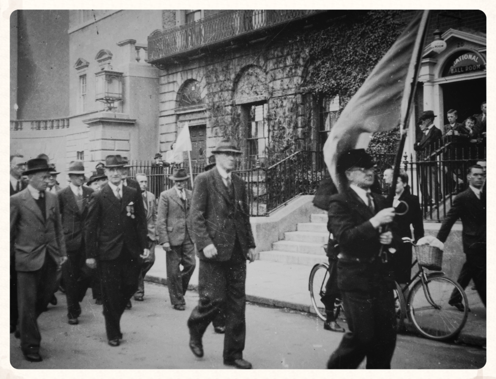 Tom (centre) marching with his comrades of the 1st Battalion, Dublin Brigade in 1945