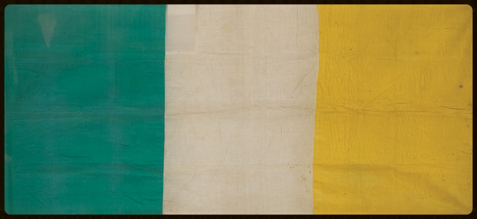 The Irish Tricolour that reportedly flew over the GPO during the Easter Rising. It is currently on loan to the American Irish Historical Society and is on display at their New York headquarters.
