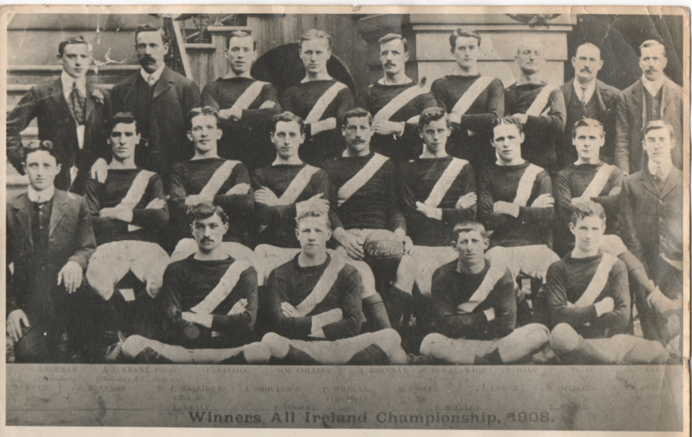Jack Shouldice (Middle Row - 3rd player from left) with the Geraldines GAA team that won the 1908 All-Ireland Senior Football Championship for Dublin.