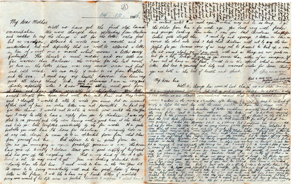 The first letter which Jack Shouldice sent to his family from Lewes Prison in December, 1916.
