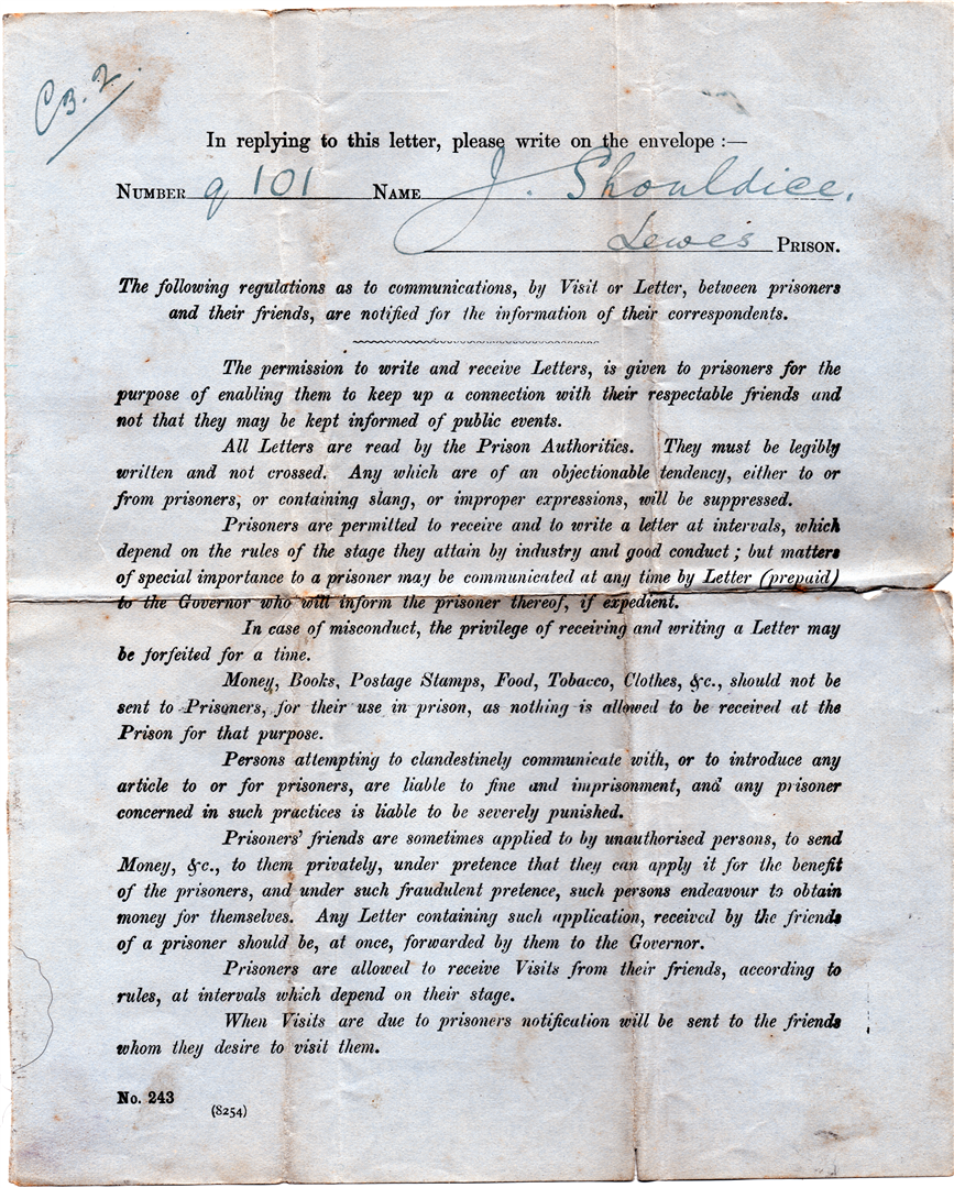 the cover page of the letter paper given to irish volunteer prisoners in lewes stating