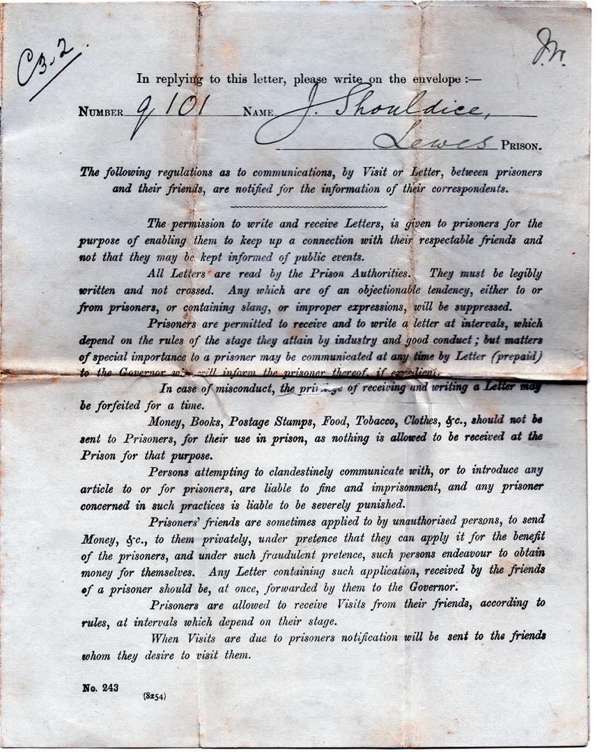 Jack's last prison letter April, 1917.