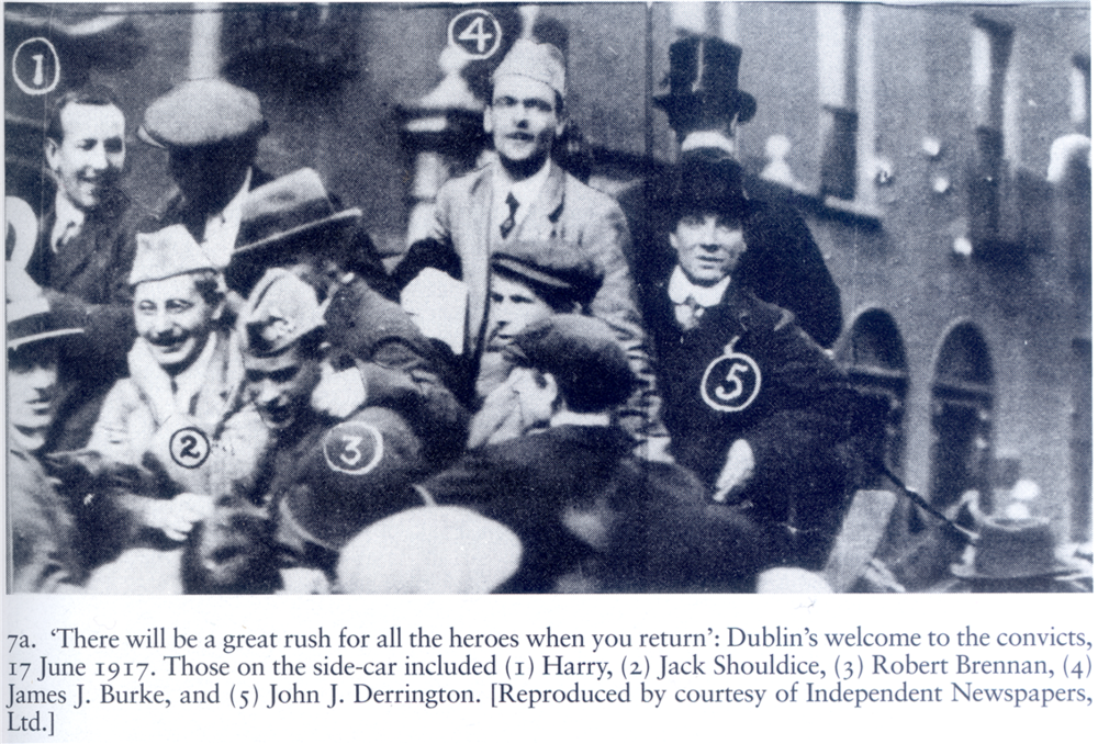 Jack and his fellow Volunteers return to Dublin after their release in June, 1917.