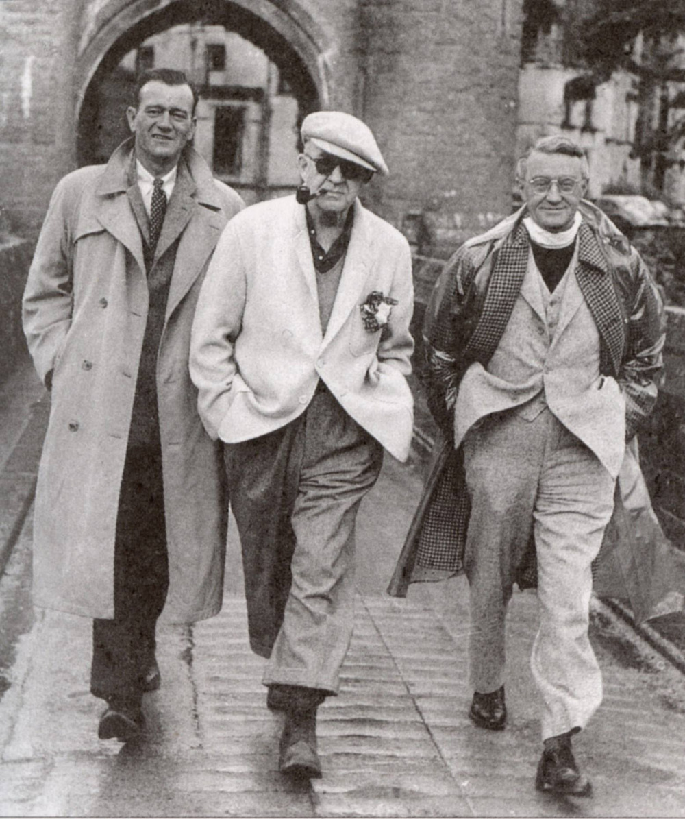 (L-R) JohnWayne, John Ford and Arthur Shields during a break in filming for 'The Quiet Man', 1951.