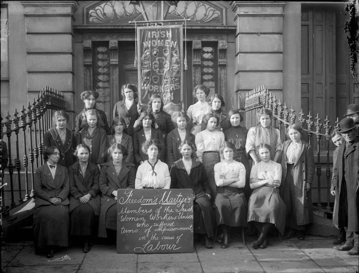 The Irish Women's Workers Union on the steps of Liberty Hall. There is little doubt that Helena Moloney is in the photo, although there is some dispute as to where she is sitting. Most accounts seem to put her either 3rd from the left in the front row or in the centre of the middle row.