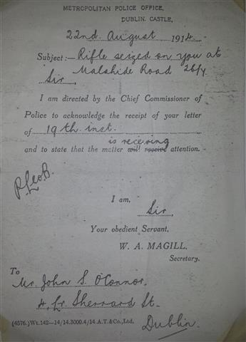 Copy of the docket issued to John O'Connor by the DMP on receipt of his letter requesting the return of his confiscated 'Howth' Mauser rifle.
