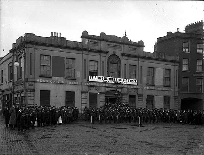 Irish Citizen Army on parade outside Liberty Hall