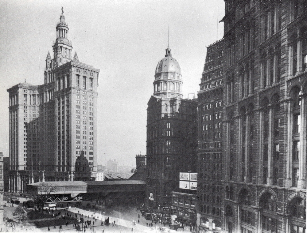 Lower Manhattan in 1917, the year of Skinnider's visit.