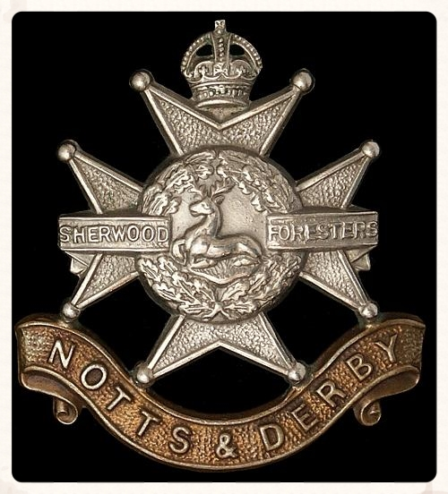 The cap badge worn by the men of the Notts & Derby Regiment