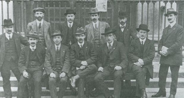 The Irish Trade Union Congress, including (standing): James Connolly, far left; William O'Brien, 2nd left; and James Larkin, 2nd right (seated).