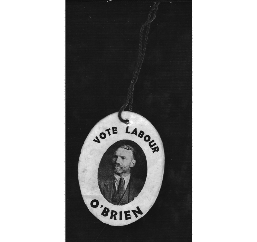 Badge for O'Brien's election campaign